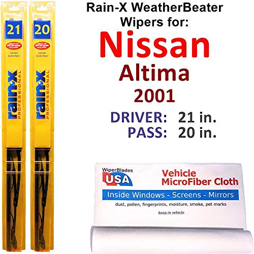Rain-X WeatherBeater Wiper Blades for 2001 Nissan Altima Set Rain-X WeatherBeater Conventional Blades Wipers Set Bundled with MicroFiber Interior Car Cloth