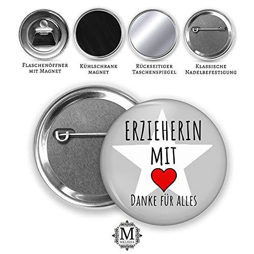MeLifestyle Button 59mm Erzieherin mit Herz Danke für Alles Geschenk Abschied