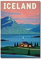 アイスランドヴィンテージトラベルアート冷蔵庫マグネット サイズ2.5インチ x 3.5インチ