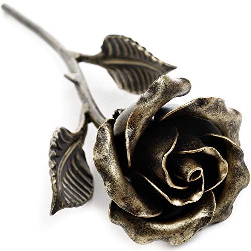 Hand Forged Metal Rose (Bronze Stained) Gift of Everlasting Love