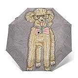 自動三つ折り傘日焼け止め防風UVヒップスタープードルとメガネとボウタイ雨傘男性女性のための壊れないコンパクトな折りたたみ傘