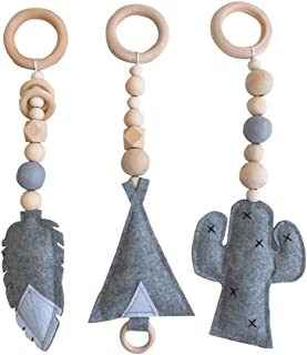3PCS/Set Baby Rattle Toys Nordic Style Wooden Rattle Ring Beads Play Gym Toy Stroller Hanging Toys Newborn Infant Gift