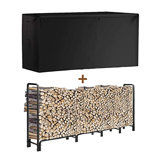 INRLKIT Outdoor Firewood Rack with Cover Adjustable Size 8 ft Strong HeavyDuty Tubular Steel Fire Wood Storage Holder Stable Wood Stacker for Fireplace Waterproof Dustproof Black