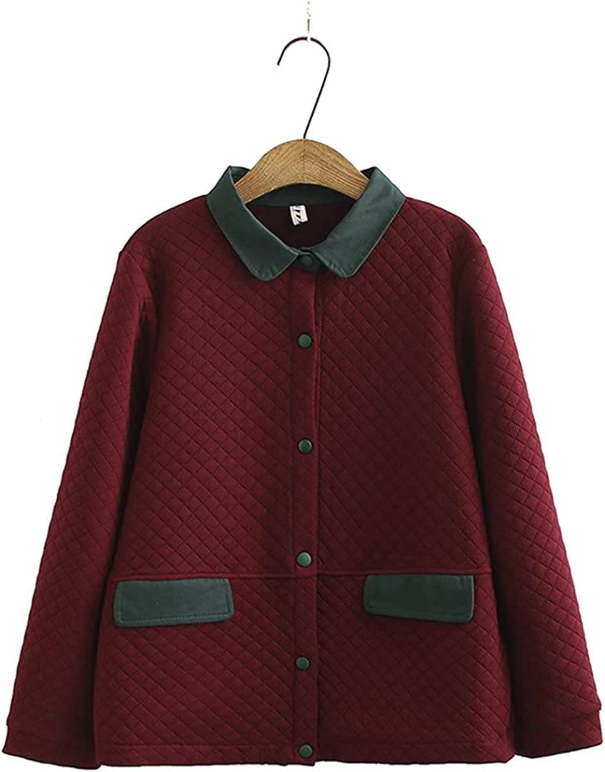 KCLDFJ Autumn Quilted Coats for Woman Lightweight Thin Single Breasted Jacket Plus Size Women's Jacket