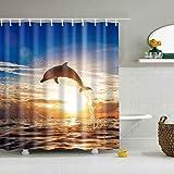 Cielo azul, hermosa puesta de sol, océano misterioso, sol blanco, linda cortina de ducha de delfines, tela duradera, cortina de ducha decorativa a prueba de agua y moho para el hogar A50 180x180cm