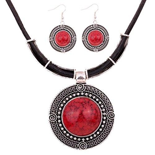 Yazilind Weinlese PU- Leder-Kette tibetischen Silber Runde Anhanger Bib Halskette Ohrringe Set Hochzeit (rot)