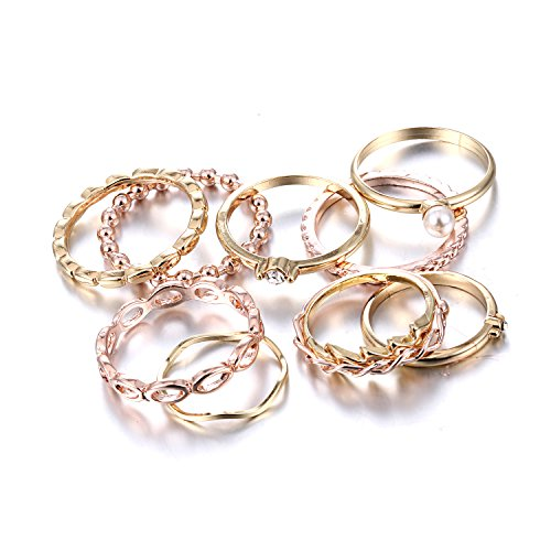 Gmai Bohemian Vintage Women Crystal Joint Knuckle Nail Ring Set of 10 pcs Finger Rings Punk Ring Gift (Gold)