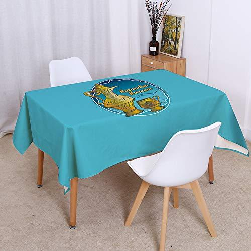 sans_marque Mantel simple y elegante con borlas, de algodón, lavable, cuadrado, gris, a prueba de polvo, para decoración de mesa de cocina, comedor, 100 x 140 cm