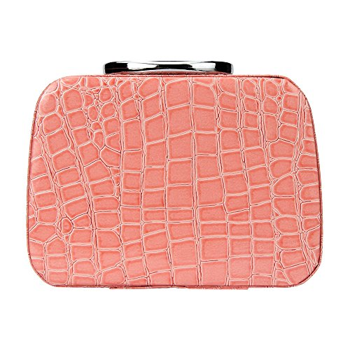Thenxin Professional Cosmetic Bag Travel Organizer Makeup Train Case Portable Storage Bag with Mini Mirror for Makeup Tools Gift for Girls Women(Pink,one size)