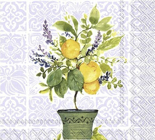 Set of 2 Individual Decoupage Paper Wat TREE Napkins LEMON Party Courier shipping Special Campaign free