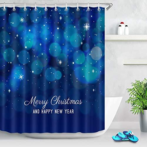 zhangqiuping88 Navidad Año Nuevo Halo Star Cortina de Ducha Baño Tela Duradera Moho Colgante de baño Creativo con 12 Ganchos 180X180CM