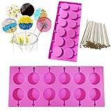 Supercat Molde de Paleta de Silicona Bandejas Redondas Jalea de Caramelo Cubo de Hielo Galletas de Chocolate Molde para Hornear de Paleta + 100 palitos de rosalor Rosa (Pink)