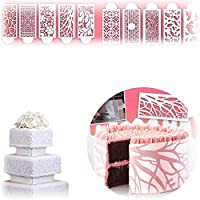 Cake Lace Decoration Stencil, Printing Hollow Lace Decoration Molds Decorative Flower Edge Tools Food Safe Embossed, Stencil for DIY Craft Wedding Birthday Party(Set of 10)