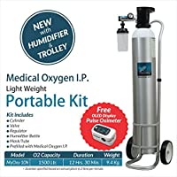 MyOxy Light Weight Oxygen Cylinder (1500 Litres) with Humidifier & Trolley