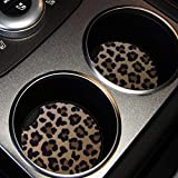 lifeegrn Car Coasters, Car Cup Holder Coasters, 2.76 Inches Car Coasters for Cup Holders, Anti Slip Removable Universal Neoprene Drinks Absorbent, Car Coasters for Women(Leopard 2 Packs)
