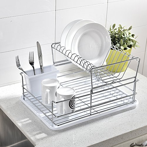 IKEBANA Quality 3Tier Stainless Steel Collapsible Kitchen Dish Drying Rack Dish Rack with Black Plastic Cutlery Holder and Silicone Drainboard