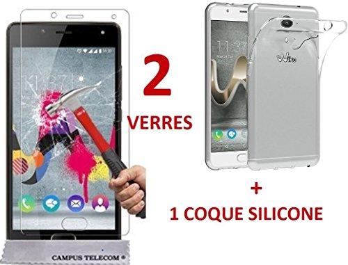 WIKO U-FEEL PRIME (5 pouces) 2 Films Vitres Verres Trempé de protection ecran + 1 Coque gel silicone ufeel prime by AccessOne