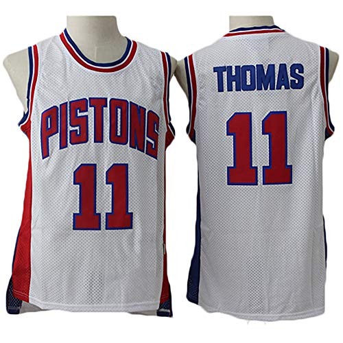 LITBIT Baloncesto para Hombre NBA Jersey Vintage Detroit Pistons 11# Thomas Transpirable Quick Secking Sin Mangas Vestima Top para Deportes,Blanco,M
