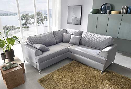Abakus Direct Ferguson Corner Sofa in Light Grey Water Repellent Velvet Fabric