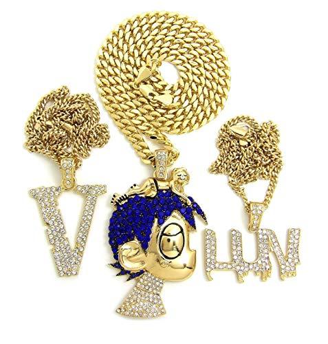 BLINGFACTORY ICED Hip HOP Uzi Pendant & 20', 24' Cuban Chain 3 Necklace Set
