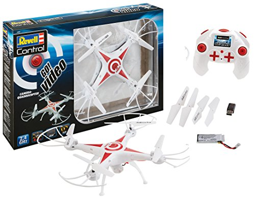 Revell Control 23858 RC Kamera-Quadcopter GO! Video, 2.4GHz, Akku, Flip-Funktion, Rotorschutz, LED, Headless-Mode, Geschwindigkeitsstufen, ferngesteuerter Quadrokopter, weiß, 31 cm
