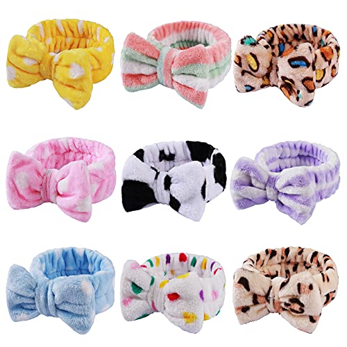 9 Pack Headbands Bow Shower Elastic Hair Band Coral Fleece Headbands for Washing Face Head Wraps for Makeup Cosmetic Sweet Headbands