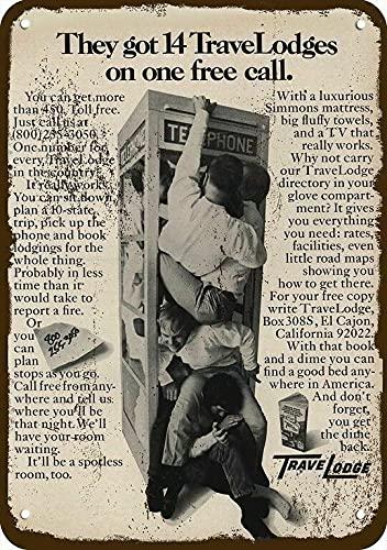 1970 Travelodge Motel Vintage Look Cartel de Metal Decorativo Antiguo Teléfono Boo 20 x 30 cm Home Sign 20 x 30 cm Decoración del hogar Metal Pintura Decoración