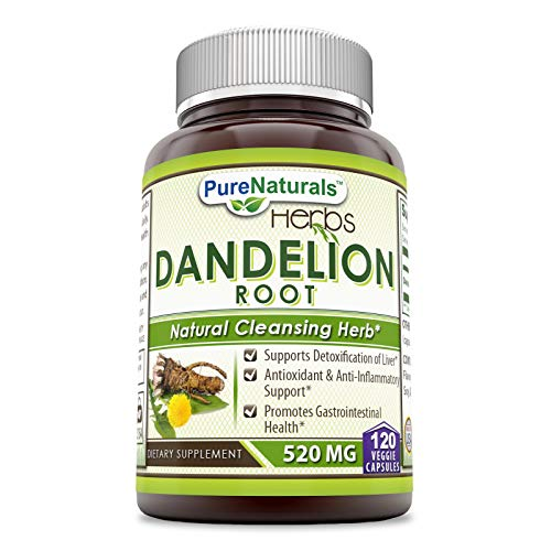 Pure Naturals Dandelion Root Dietary Supplement 520 Mg 120 Capsules- Supports Detoxification of Liver* Antioxidant & Anti-Inflammatory Support* Promotes Gastrointestinal Health*