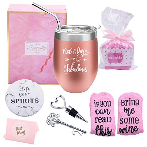 Yorktend Not a Day Over Fabulous Wine Tumbler - Fun Birthday Gifts...