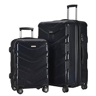 2 PC Luggage Set Durable Lightweight Hard Case Spinner Suitecase LUG2 RA8713 BLACK
