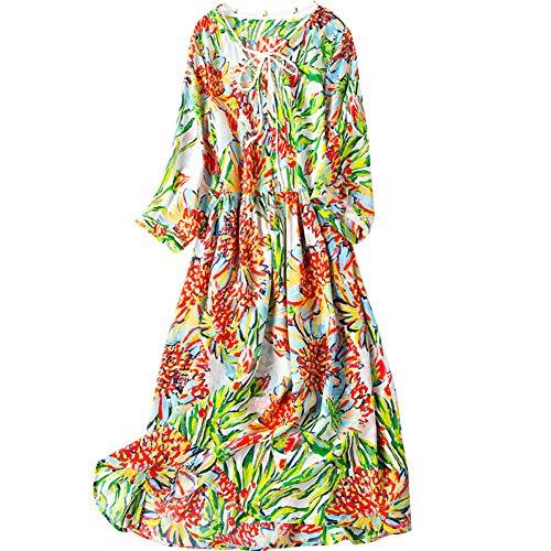 BINGQZ Cocktailjurken Lente nieuwe v-hals stropdas bohemian zijden jurk vrouwelijke lange rok