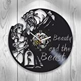 Beauty & The Beast Xmas Gift, Beauty and The Beast Clock, Birthday Beauty and The Beast, Vinyl Wall Clock, Xmas Gift for Kids, Disney Clock, Disney Gift for Girl, Wall Clock Large