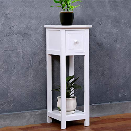 Youyijia Bedside Table Unit White Side Tables Nightstand with Drawer Slim Tall Cabinet Telephone Table for Bedroom, Living Room