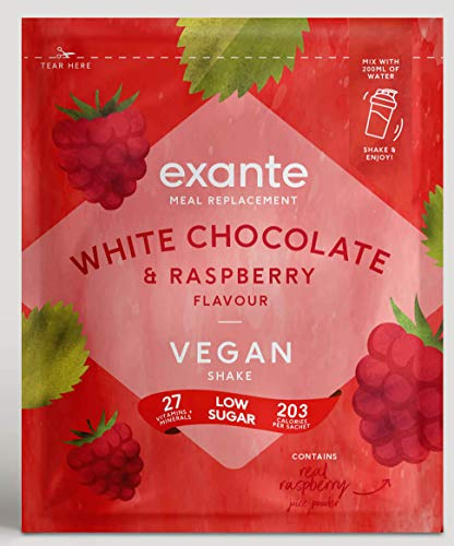 Exante Vegan Meal Replacement Shakes - Pack 7 Shakes (White Chocolate and Raspberry)