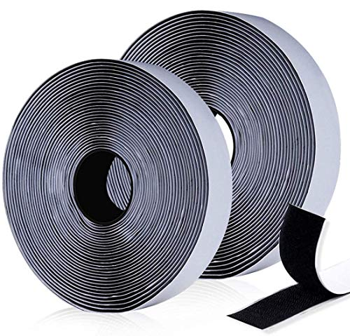 O-Kinee Klettband Selbstklebend, 12M Extra Stark Doppelseitig Klebende | Klettverschluss | Selbstklebendes Klebepad, 20mm Breit (Schwarz)