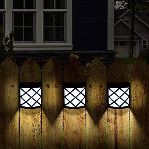 GIGALUMI 8 Pack Solar Fence Lights,6 LED Solar Deck Lights,Waterproof Automatic Decorative Outdoor Solar Wall Lights for Deck, Patio, Stairs, Yard, Path and Driveway. (Cold White)