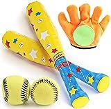 DIMUAT 4 in 1 Baseball Toys,Outdoor Baseball Bat Glove and Soft Ball Safety Training Baseball Bat Toy