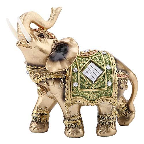 Glückselefant , Akozon Elefant Statue Glück Feng Shui Grüne Elefant Statue Skulptur Reichtum Figur Geschenk Hauptdekoration(L)
