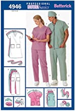 BUTTERICK PATTERNS B4946 Unisex Uniforms (Dress, Belt, Top, Skirt, Pants, Hat & Ponytail Holder, Size LRG (L-XL)