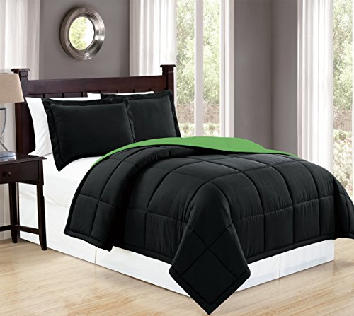 Mk Collection Down Alternative Comforter Set 2pc Twin Reversible Black/Lime Green New