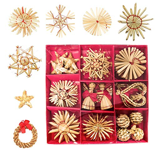 Nsiwem 38 Pezzi Stelle di Paglia Decorazioni Natalizie da Appendere in Paglia Ciondolo di Paglia con Cordino Rosso Ornamenti per Alberi di Natale ca. 6 cm Decorazioni per L'Albero di Natale