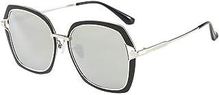 Fashion Round Face Ladies Sunglasses Female Big Face Elegant Glasses UV400 Polarized Sunglasses Retro (Color : Silver)