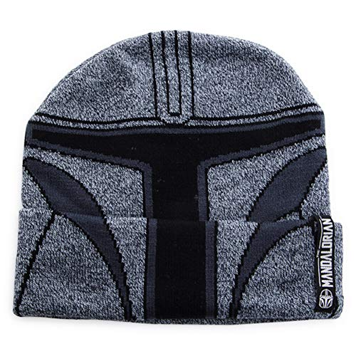 Mandalorian Star Wars Young Herren Strickhelm-Beanie-Mütze Grau