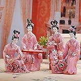 Escultura ornamental, estatua, decoración, escultura clásica hecha a mano, de porcelana, escultura de ajedrez, decoración de casa, salón, decoración, verde, 4Pcs_12_Inches_1_Set de 4P