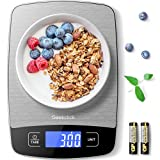 Geekclick Digital Food Kitchen Scale, Weight Grams & Oz for Baking, Cooking, Meal Prep, and Weight Loss, 1g/0.05oz Precise Graduation, Easy Clean Stainless Steel and Tempered Glass