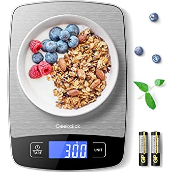 Geekclick Digital Food Kitchen Scale Small Scale for Food Weight Grams and Oz/Ounces Kitchen Tools for Baking,Cooking,Meal Prep,Weight Loss 1g/0.05oz Precise Graduation,Easy Clean Stainless Steel