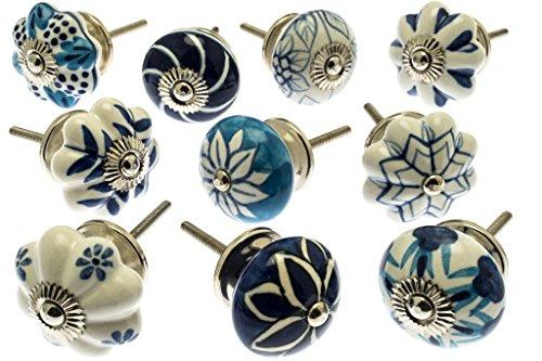Gemischt Set mit blau & weiß Schrankknöpfe aus Keramik x 10 (MG-203) \'Vintage-Chic\' TM Produkt