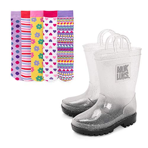 MUK LUKS Girl's Clear Molly Rainboots with 5-Pk Socks Fashion Boot, Pattern, L (11-12)