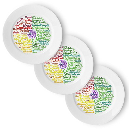 Vegan Healthy Eating Plate (3 Pack) | Beautifully Designed Easy Sections to Follow a Vegan or Vegetarian Diet | 10 Inch Meal Plate for Food Ideas & Portion Control for Sustainable Weight Loss