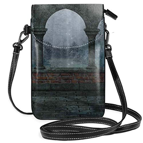 Women Small Cell Phone Purse Crossbody,Medieval Castle At Night With Old Arch And Candles Middle Age Misty Image